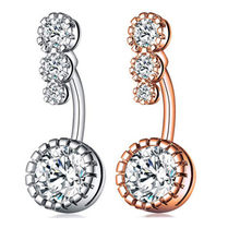 Hot Sales New Style Stainless Steel Brass Circle Zircon Navel Ring du qi ding Piercing Jewelry(China)