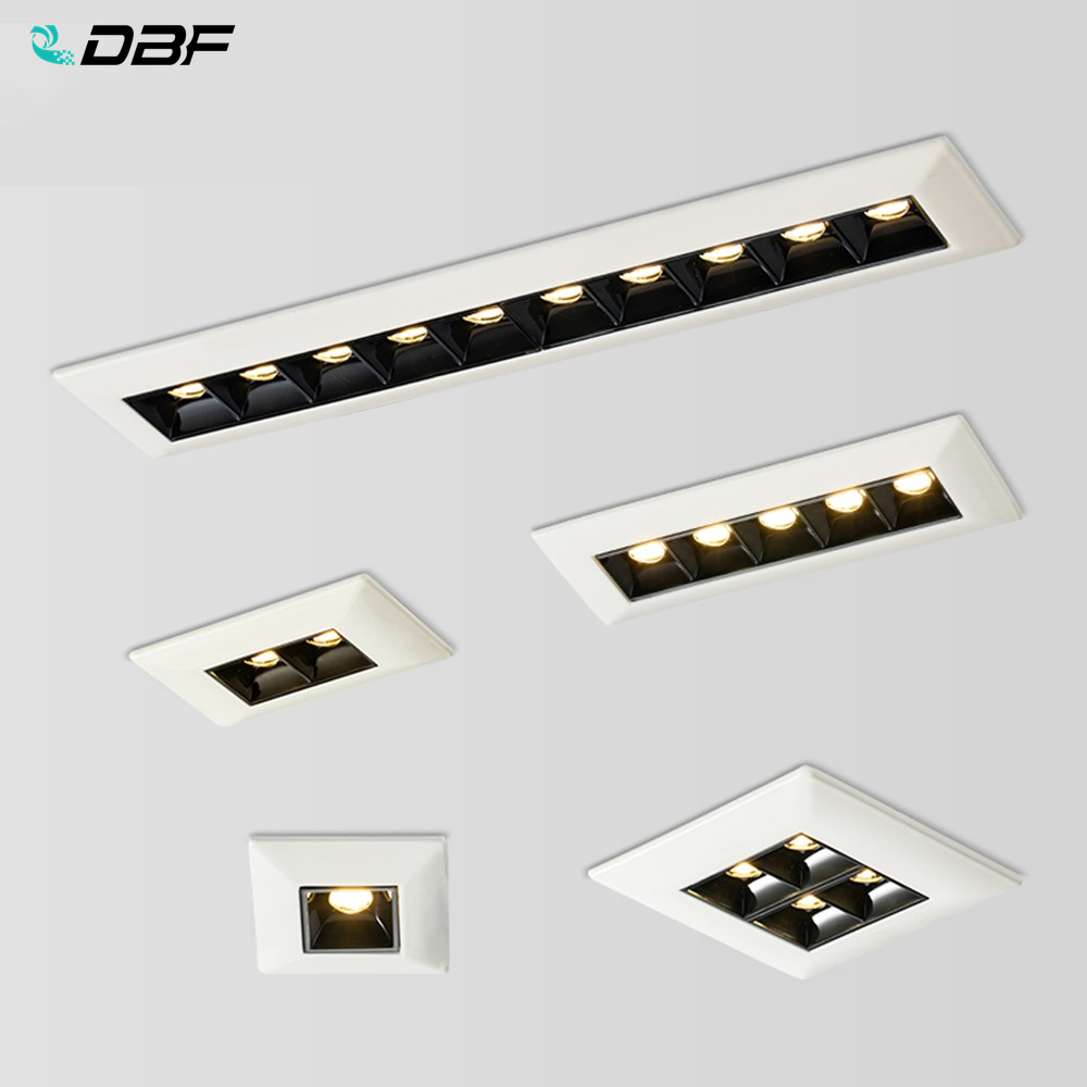 [DBF]Single Row Long Square LED COB Recessed Downlight Non Dimmable 2W 4W 10W 20W LED Ceiling Spot Light Living Room Aisle Light
