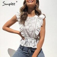 Simplee 레이스 자수 여성 탱크 탑 주름 장식 o neck peplum 탑 여성 여름 스타일 Streetwear 숙녀 흰색 탑스