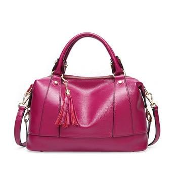 Fashion luxury women bag genuine leather handbags shoulder bags cowhide female purse