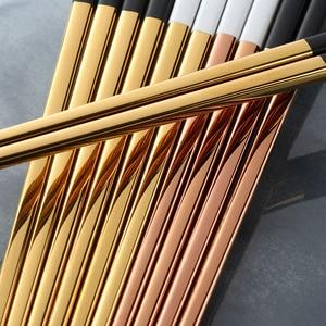 Image 4 - 5 Pairs Eetstokjes Roestvrij Staal Titanize Chinese Gold Chopsitcks Set Black Metal Chop Sticks Set Gebruikt Voor Sushi Servies