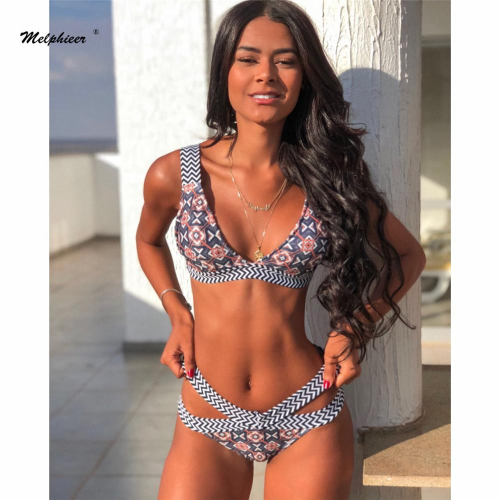 Melphieer Strappy Bandage Cut Out Bikini Women's Swimsuit Two Pieces Swimwear Women Beach Wear Bathing Suit Xl Biquinis Maillot