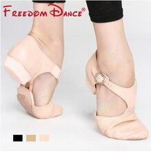 Zapatos de Baile de Jazz elástica de cuero genuino para mujer, zapatos de baile Lyrical de Ballet con correa en T, sandalias de baile para profesores