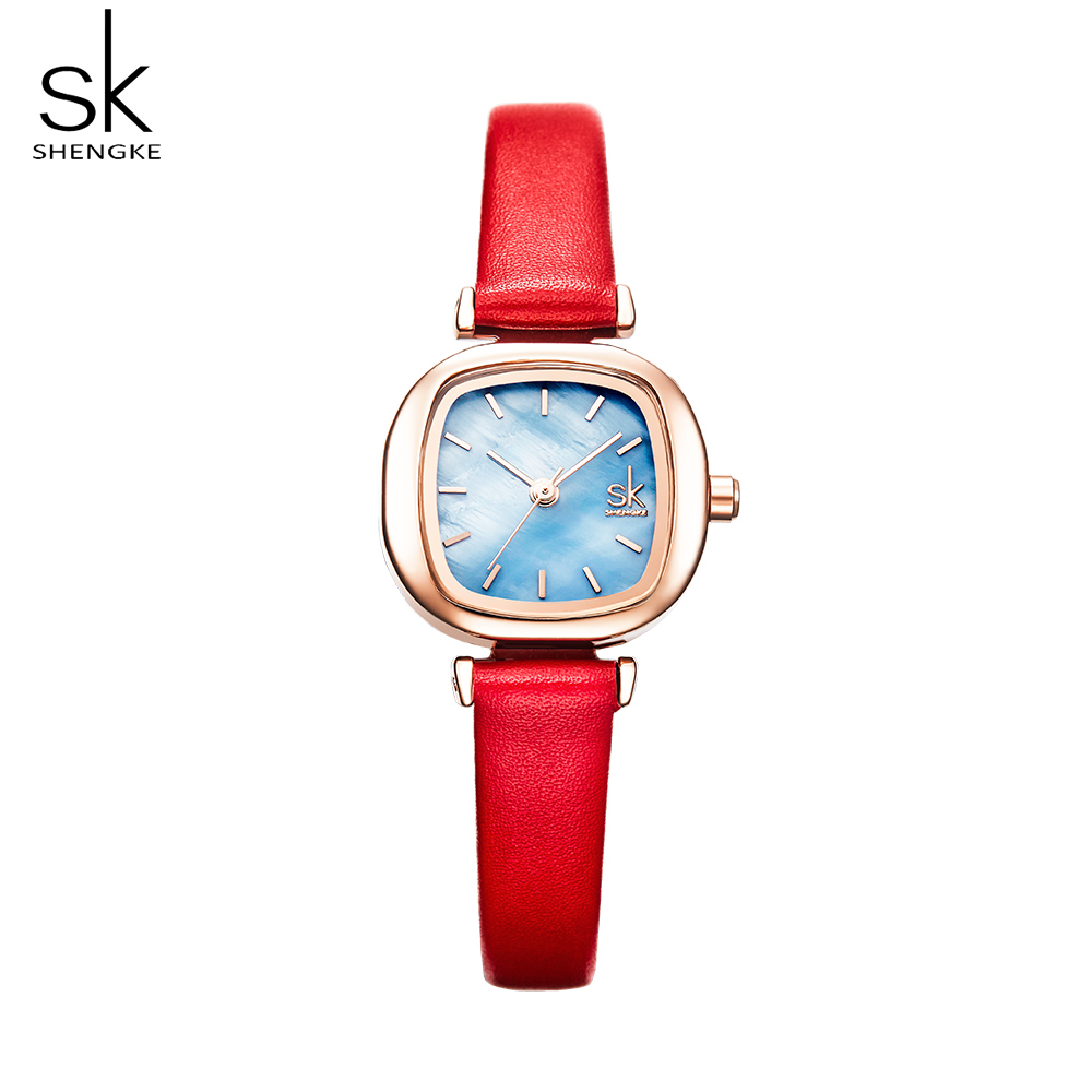 Shengke Casual Women's Watches Red Leather Shell Square Dial Quartz Lady Clock Wrist Watch Relogio Feminino Bayan Kol Saati Gift