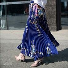 Femme Jupe Saia ยาวเจ้าหญิงชีฟองผู้หญิงจีบกระโปรงวินเทจสูงเอวด้านล่างกระโปรงสตรี