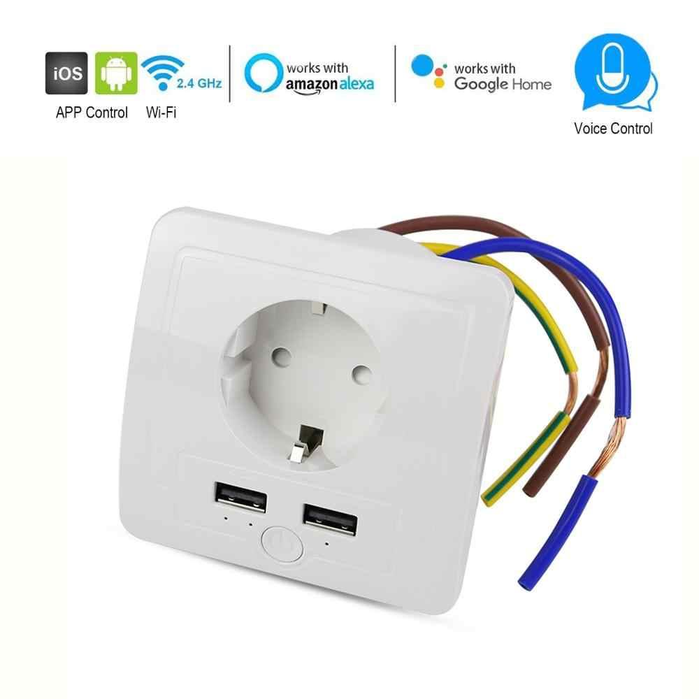 Wifi 스마트 EU 소켓 2 USB 포트 15A 벽면 콘센트 타이머 스위치 Tuya APP 제어 플러그 소켓 음성 제어 Alexa google과 함께 작동