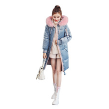 Cotton Clothing Female Long Section Thick Warm Coat Winter New Flannel Fabric Fashion Solid Color Fur Collar Coat-221
