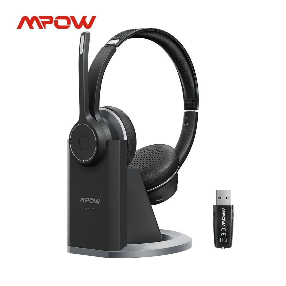 Беспроводные наушники Mpow HC5 Pro, Bluetooth 5,0, гарнитура с шумоподавлением, микрофоном, зарядным устройством, USB-адаптером, компьютерные наушники