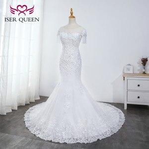 Image 3 - O neck pesado beading sereia vestido de casamento branco puro borla vestido de noiva bordado tule rendas até vestidos de casamento wx0042