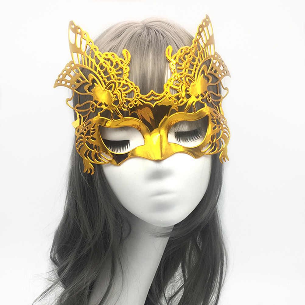 2 piezas de máscara electrochapada ahuecada con forma de águila máscara de Mascarada para fiesta de disfraces de Boda (dorado + de plata)