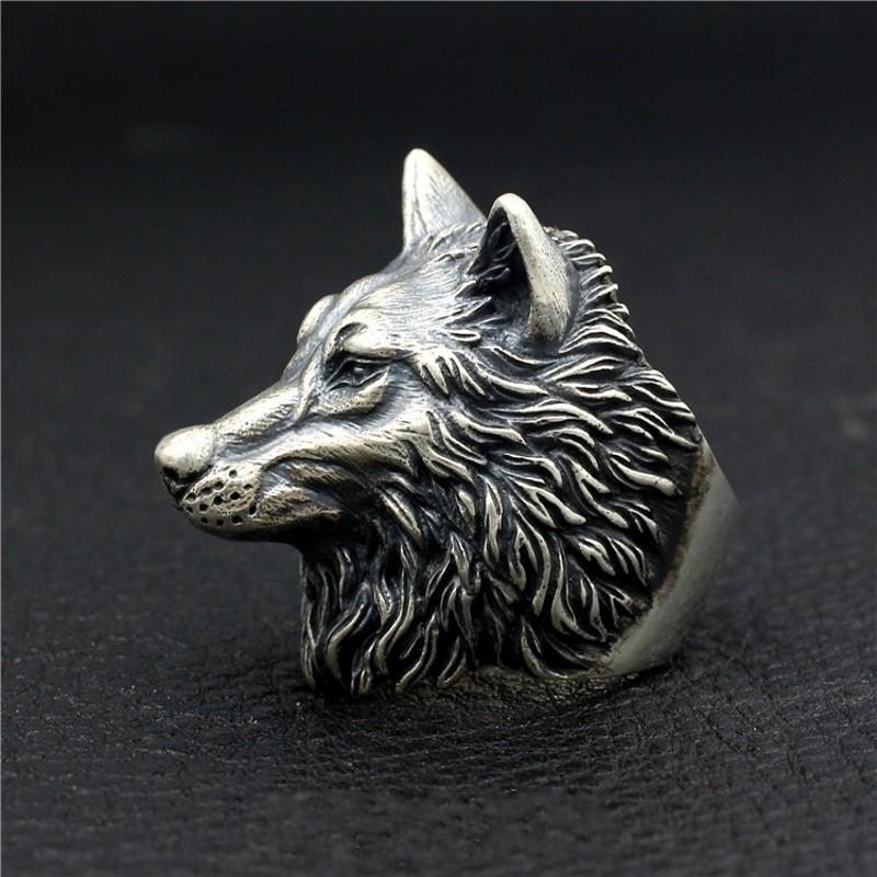 Loup roi nouveau S925 bague en argent Sterling fait à la main loup Totem corihan Locomotive Punk dominateur hommes tête de loup bague en argent - 4