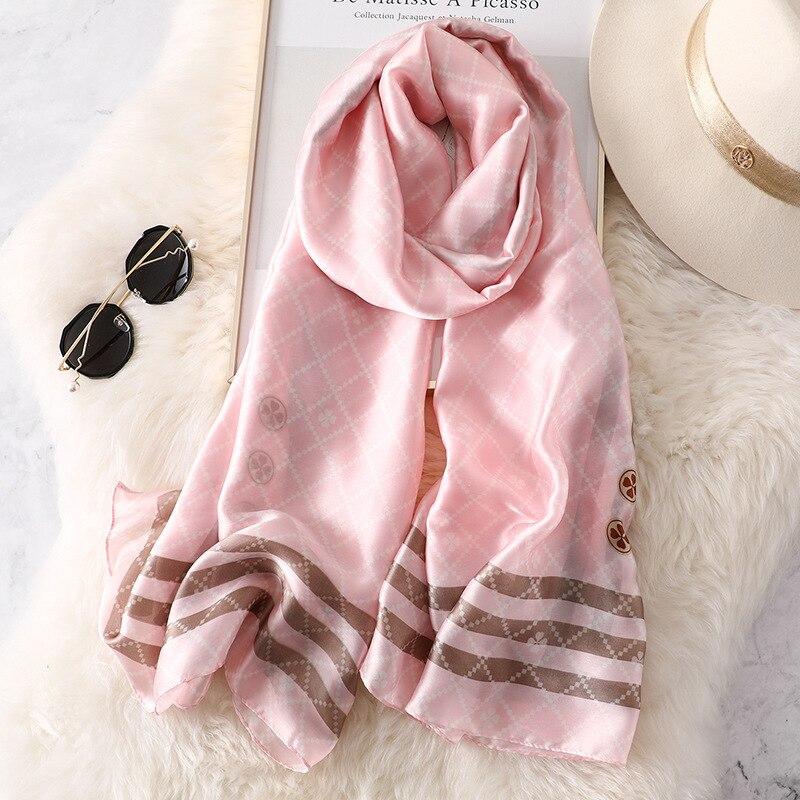 2020 New Spring And Summer Women Fashion Print Silk Scarf Lady Superior Quality Scarves Shawl Female Beach Headband Muffler