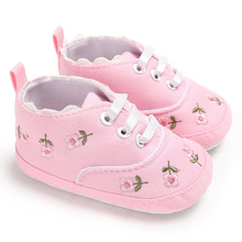 Newborn Baby Girls Shoes Floral Embroidery First Walker Infant Lace-up Soft Sole Anti-slip Canvas Shoes Summer Autumn 0-18 M
