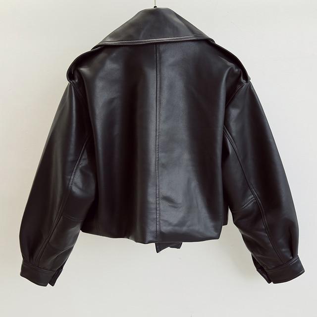 FTLZZ New Spring Women Faux Leather Jacket Biker Red White Coat Turndown Collar PU Motorcycle Jackets Loose Streetwear Outerwear 2