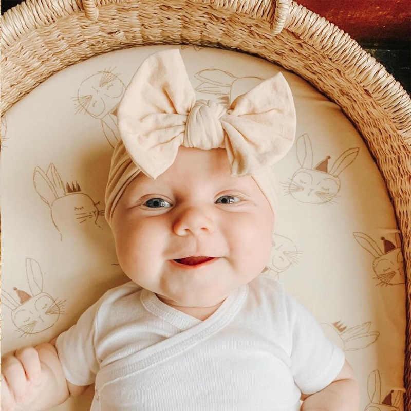 תינוק בנות ניילון סרט רך יילוד גומייה לשיער Bebe Bowknot סרטי ראש קשת טורבן ילדים כיסוי ראש אבזר תמונה תינוק בארה 'ב