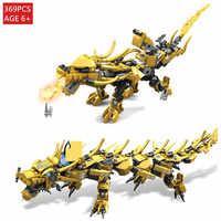 369Pcs Golden Dragon Knight Figures Building Blocks Sets Bricks Educational Toys for Children legoinglys