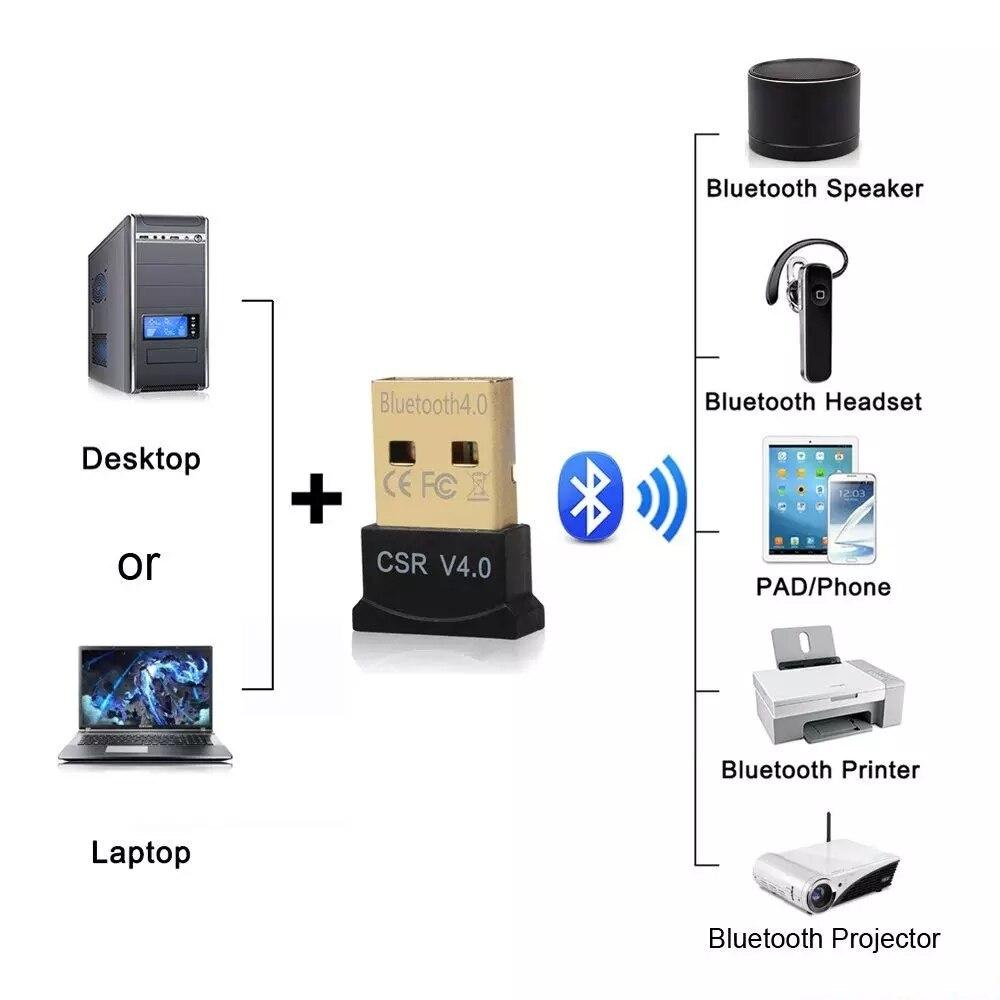 SEM Fio Mini USB Bluetooth CSR 4.0 Modo Duplo Adaptador Dongle Para Windows 10 8 7 Vista XP 32/64 Bit Raspberry Pi Preto 4