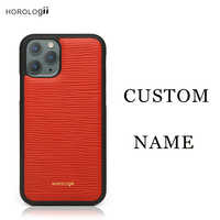 Horologii CUSTOM NAME FREE phone cases for Iphone X 7 plus Xs Max Real cow leather mobile case holiday gift dropship