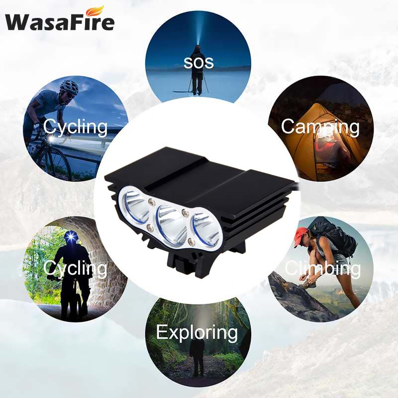 WasaFire Hot X3 Bicycle Bike Light  6000 Lumens 4 Mode XM-L T6 LED Cycling Front Light Battery Pack + Charger Bike Accessories