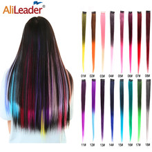 Alileader-Clip en el pelo de 20 pulgadas, extensor de pelo colorido sintético, más duradero y recto