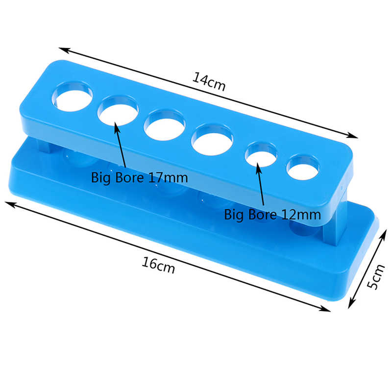 Plastik Biru Test Tube Rack 6 Lubang Berdiri Lab Test Tube Stand Rak Sekolah 1 Pc