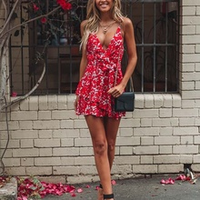 Deep V Strap Dress Short Female Red Sexy Slim Ruffled Design Highlights Feminine High Waist Pretty Print