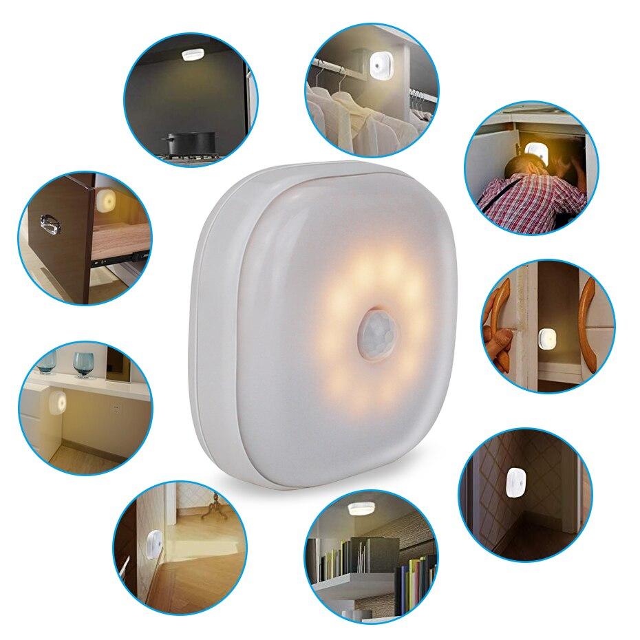Cute Mini Square PIR Motion Sensor LED Night Light 1.5V AAA Battery Useful For Closet Warm White PIR Motion Sensor Lighting Lamp