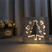 creative 3D Wooden hollow Night Lamp Novelty Glow Christmas Tree LED Light warm USB Table For Home Decor