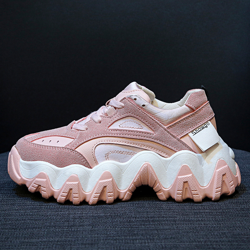 2020 Women Chunky Sneakers Platform Tenis Female Pink Trainers Casual Shoes Designers Lace Up Dad Shoes Woman Fashion Sneaker