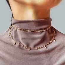 Collar de gargantilla de múltiples capas de color dorado de Modyle, colgante para mujer, cadena de oro, amor, joyería Bohemia en el cuello
