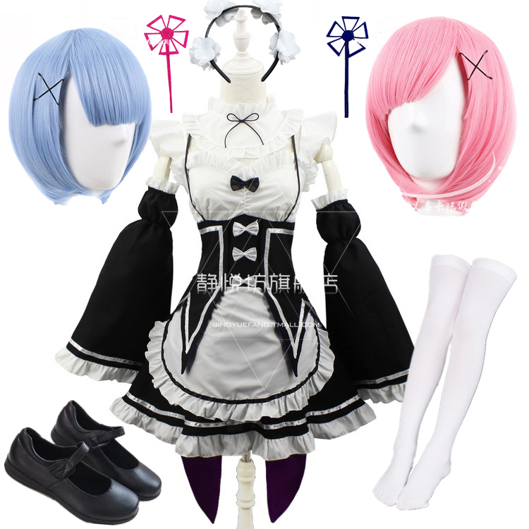 Ram/Rem Cosplay Re:zero Kara Hajimeru Isekai Seikatsu Black Blue Red Costume Maid Servant Dress Wigs