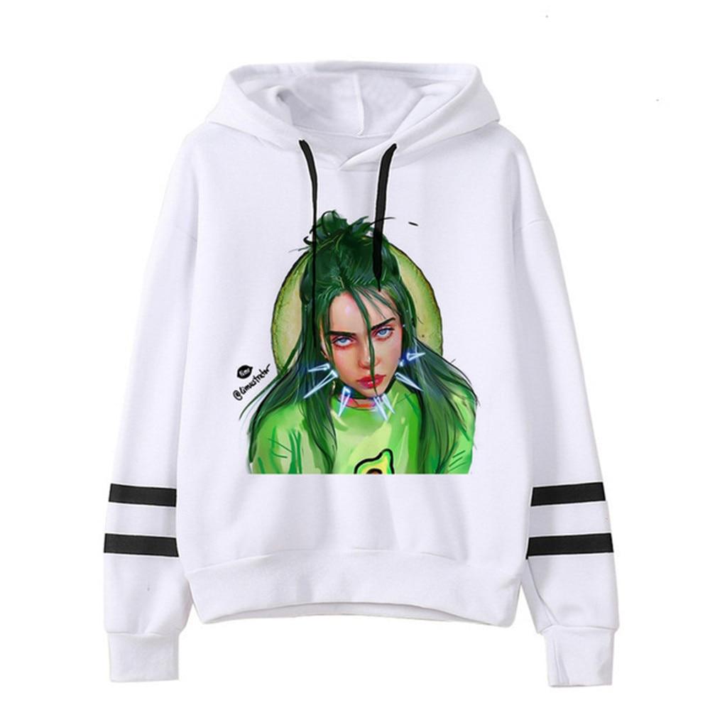 Female Funny Billie Eilish Bad Guy Harajuku Hoodies Women Hip Hop Cartoon Sweatshirt Streetwear Hoody