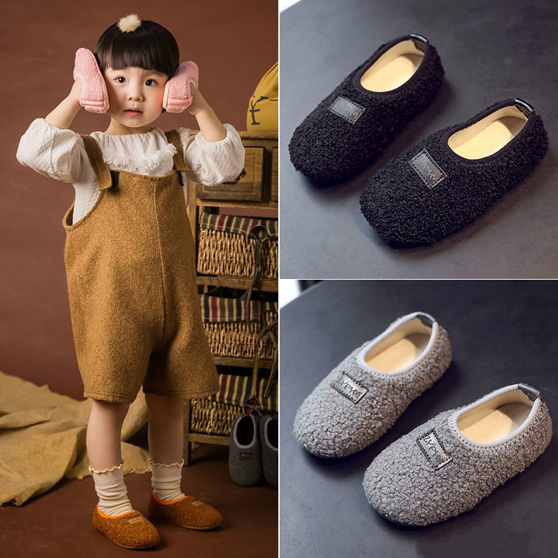 DOGEEK Baby Shoes Girls Children's Home Slippers Spring Boys Girls Warm Kids Loafers Baby Cotton Slippers Plush Casual Shoes