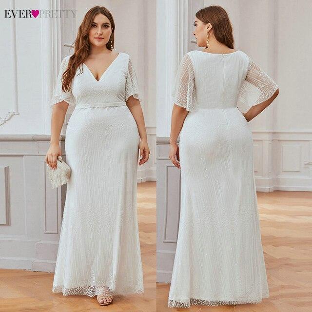 Plus Size Sparkle Prom Dresses Ever Pretty EP00838 Seuqined Ruffles Sleeve V-Neck Elegant Mermaid Pary Gowns Vestidos De Gala 3