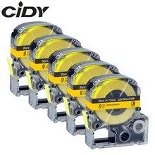 Label-Tape Epson-Machine LW400 Black Kingjim LW-600P CIDY 5pcs Compatible for 9MM Yellow
