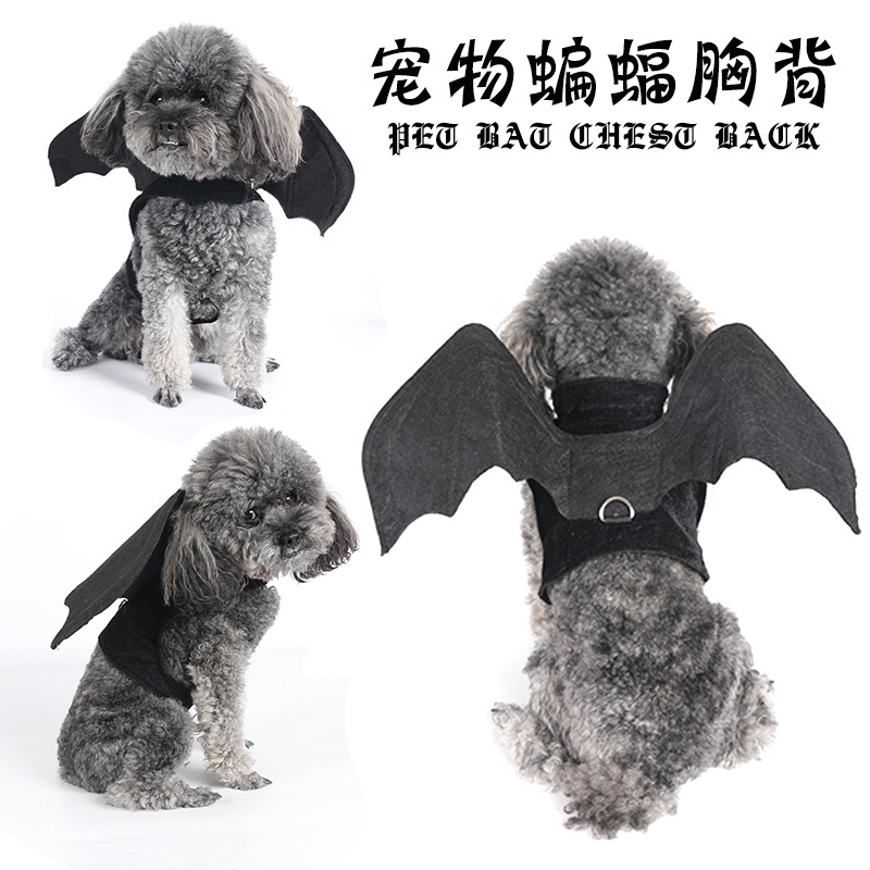 Dog Hand Holding Rope New Style Halloween Pet Suit Felt Cloth Bat Chest And Back Wing Foldable