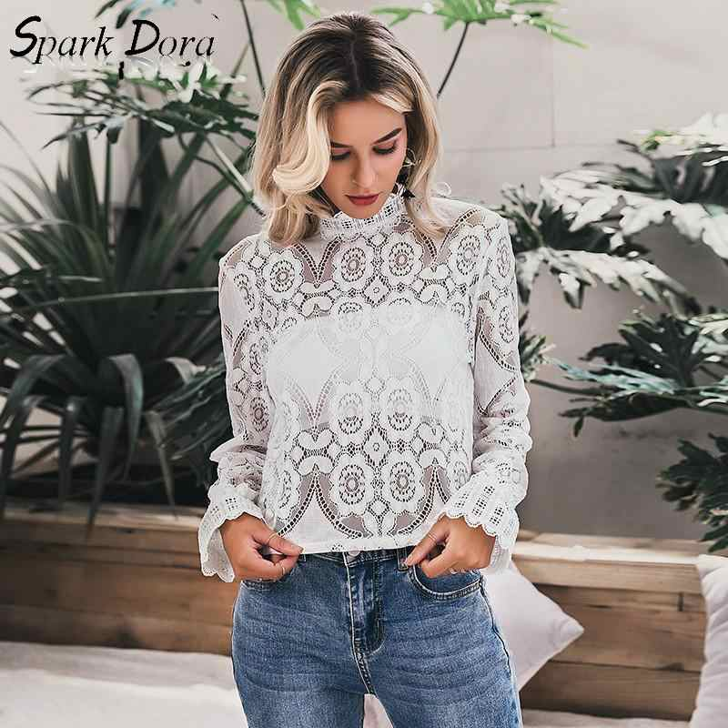 SparkDora Zarif Beyaz Dantel Bluz Gömlek Seksi Hollow Out Nakış Kadınsı Bluz Kadınlar Uzun Fener Kollu Yaz Üstleri 2019