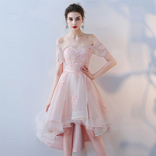 Prom Dress Pink Boat Neck Short Sleeve Women Party Dresses Flower Lace Gowns Off The Shoulder Formal 2019 LX992