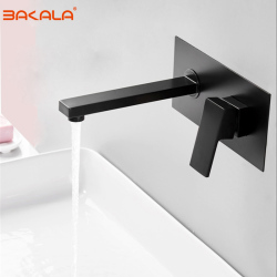 BAKALA Luxury Matte Black Bathroom Faucet Basin Sink Tap Wall Mounted Square Brass Mixer Tap LT-320BR