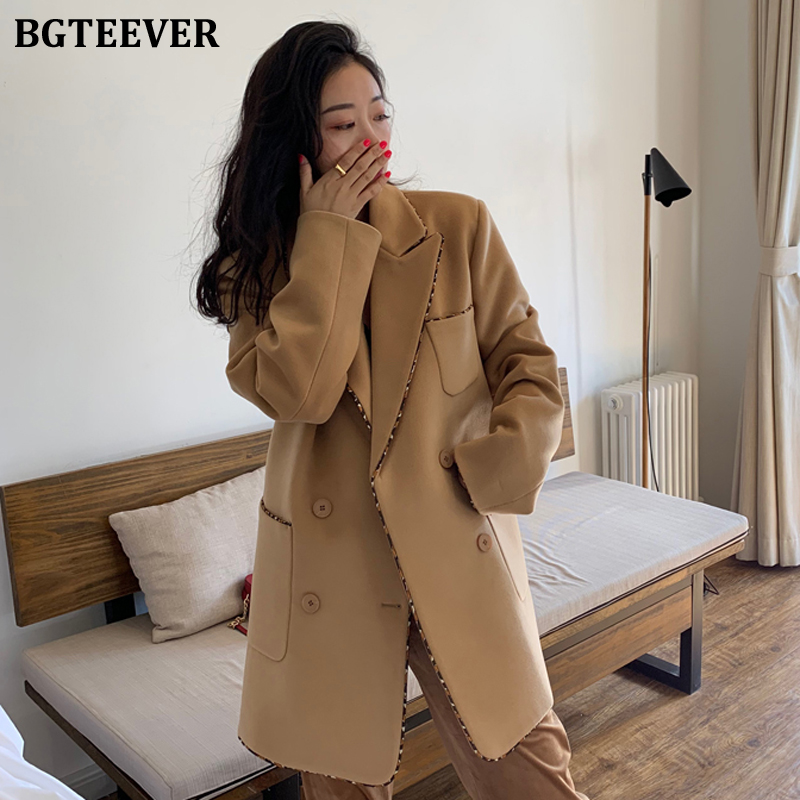 BGTEEVER Winter Thicken Warm Women Woolen Coats Notched Collar Double-breasted Pockets Fashion Loose Female Suit Jacket Blazers