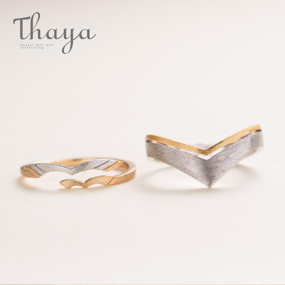 Thaya Abstract Lovebirds Design S925 Sterling Silver Finger Rings Gold Drawing Ring For Women Elegant Couple Jewelry Lover Gift
