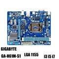 GIGABYTE GA-H61M-S1 placa base de escritorio H61 Socket LGA 1155 i3 i5 i7 DDR3 16G uATX UEFI BIOS Original H61M-DS1 utilizado placa base