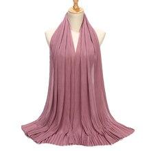 Vestido de gasa plisado para mujer, hiyab, chal, musulmán, arrugado, largo