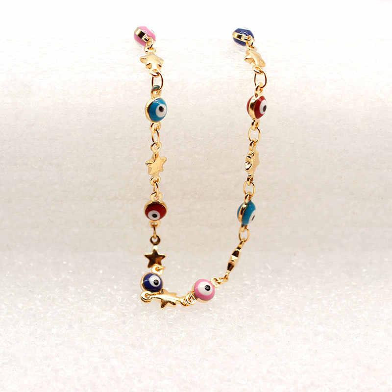 Joli Yoga étoile pied chaîne cheville turc bleu mauvais œil pentagramme charme cheville Bracelet pour femmes bijoux Tobillera