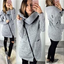Winter Coat Women 2019 Wool Warm Coat Plus Velvet Sweater Side Zip Coat Plus Size Long Coat Korean Grey Jacket Thick Slim Coat cheap COTTON Casual Zippers Solid REGULAR Turn-down Collar AC-CW845 Full Pure color Women s Woolen Coat 81 -90 Straight cylinder type