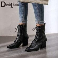 DORATASIA Big Size 34-43 New Fashion Pointed Toe Ladies High Heels Cross Tied Shoes Woman Casual Party Ol Ankle Boots Women цена в Москве и Питере