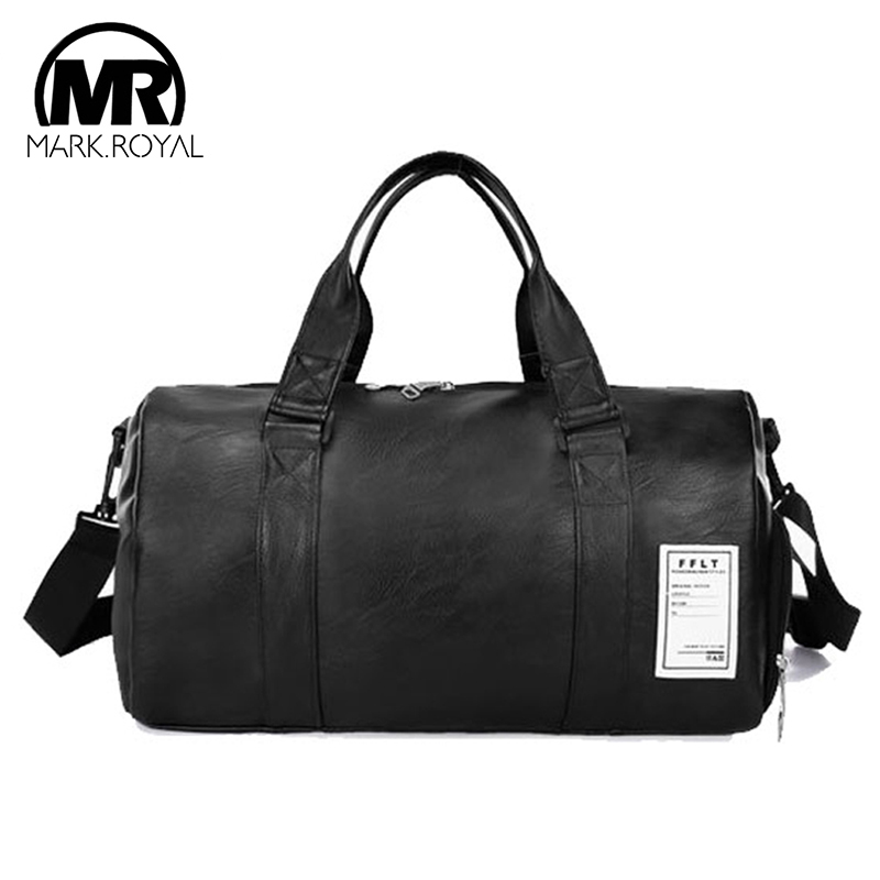 MARKROYAL PU Leather Travel Bag Independent Shoes Storage Big Fitness Bags Large Capacity  Handbag Fashion Duffle Bag