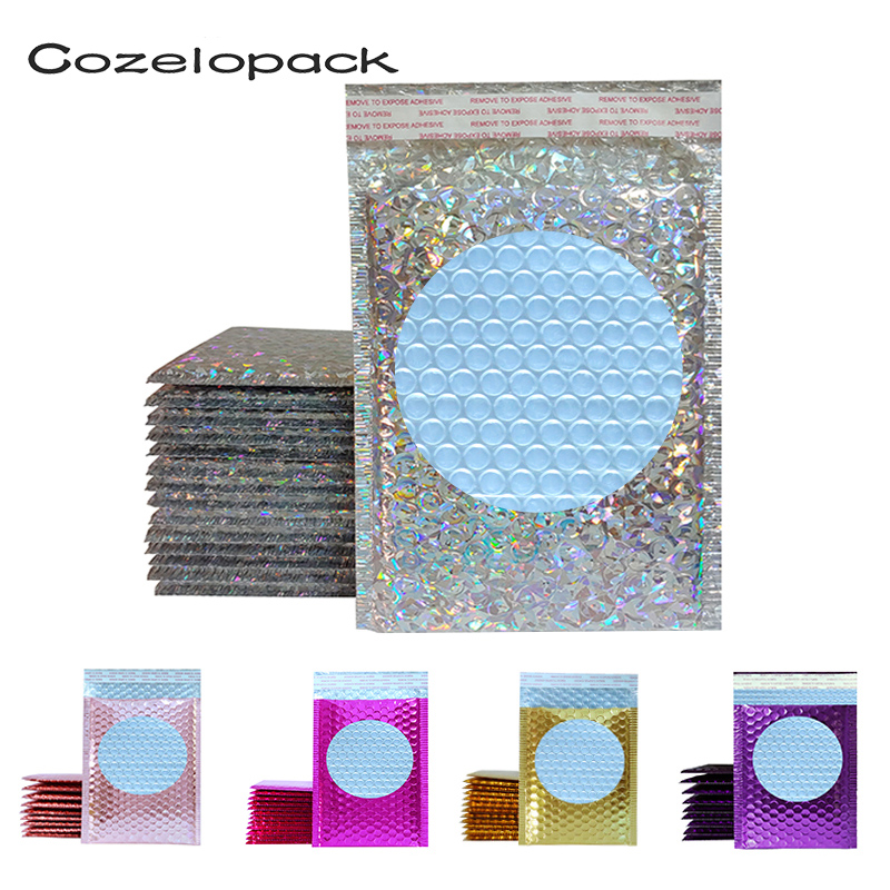 5PCS 15x20cm Color Metallic Bubble Mailers Foil Padded Bags Aluminized Postal Bags Gift Packaging Wedding Bags Shipping Envelope
