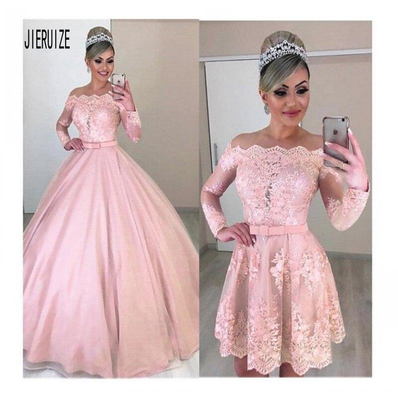 JIERUIZE New 2 In 1 Lace Wedding Dress Off Shoulder Appliques With Bow Sash Pink Detachable Bridal Gowns Vestidos De Novia