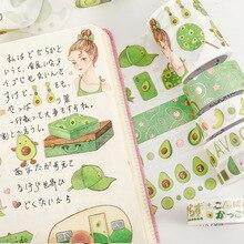 Kawaii Scrapbook Stickers Masking-Tape Stationery Adhesive Avocado Cute Decorative Diary